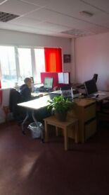 Desk spaces to rent £90 per month all inclusive, available for immediate start.