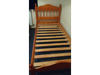 Pine bed single, with mattress if needed