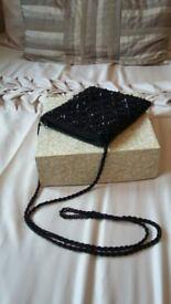 Black Beaded Evenng Bag. Cross Body Beaded Strap