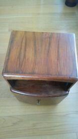 Art deco style oak bedside table. Needs a coat of wood paint.