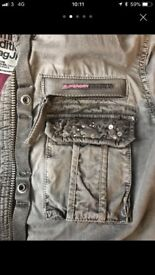 Women's superdry coat large grey sparkly
