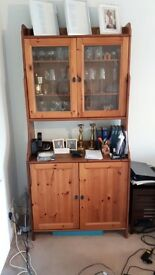 Immaculate pine glass display cabinet