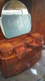 Antique wardrobes, dresser and bedside tabke