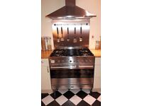 Britannia dual fuel range oven in v.g.c with extractor hood and splash back all in stainless steel!