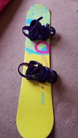 Snowboard, boots, bindings and extras