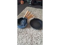 Blue cast iron pan set