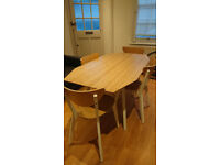 Foldable dining table and 4 chairs
