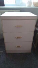 Cream bedside drawers