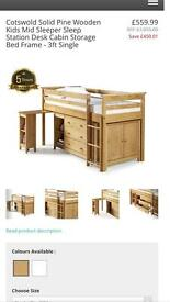 Cotswold solid pine mid sleeper complete bedroom furniture