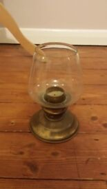 VINTAGE CLEAR GLASS CANDLE LANTERN GOLD COLOURED BRASS ? STAND