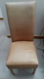 4 Leather and Oak Dining Chairs, suitable for recovering / renovation