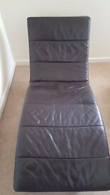 Chaise Lounge - Dark Brown Leather Look.