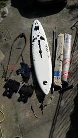 Windsurfing set with board and 2 sails-beginner/intermediate