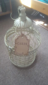Vintage cream shabby chic bird cage for wedding cards