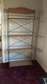 Wood and metal shelving unit
