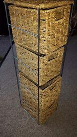 Wicker storage drawers