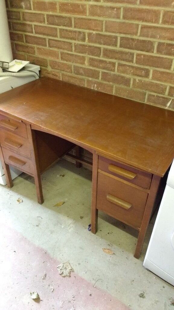 Old Wooden Desk With 5 Drawers