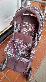 Dolls Pram Stroller For 2 Large Dolls Front & Rear Seats