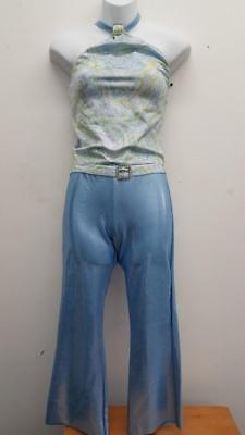 Dance Costume XS Adult Blue Metallic Disco 2PC Jazz Tap Solo Competition