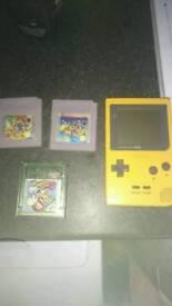 Gameboy pocket and 3 games