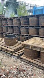 Solid Oak Barrel Planters