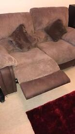 Brown 2 seater reclining setee