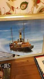 Maritime paintings framed .acrylic 2ox16 .by artist Allan bell
