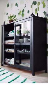 Black glass-door cabinet 140x120cm ikea SALLSKAP