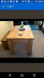 Beautiful hand made table and bench.