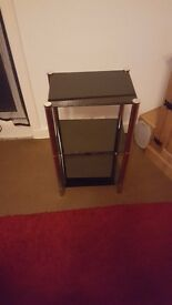 smoke glass unit 3 tear in ex cond,with chrome legs very cheep£15