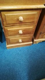 Solid Pine 3 Drawer Bedside