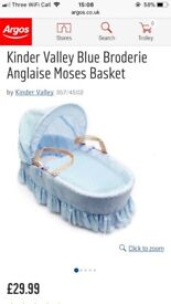 Blue Moses basket and stand - excellent condition!