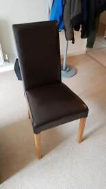 Leather effect dining chair x2