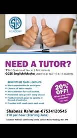 English and maths tutor £8 per hour*