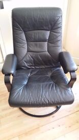 Ikea black leather swivel chair