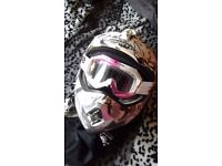 Motocross off road bike helmet white grey xs extra small gold sticker with Ariete pink white goggles