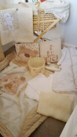 Mothercare moses basket with wooden stand, bed linen and cover. Next bedroom set and growbags