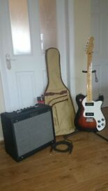 Fender thinline modern player Telecaster Guitar, Fender blues junior, gigbag and lead.