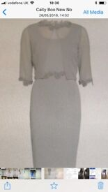 Gina Bacconi, size 12, formal two piece with fitted dress and matching jacket both with Guipure trim