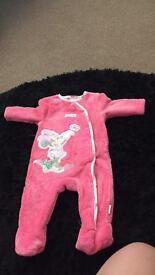 Set of three 0 - 3 warm sleep suits ideal for autumn / winter