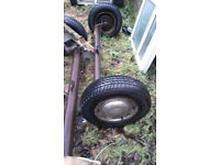 2 complete axle 4 stud ,wheels tyres brake ready to go