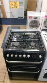 HOTPOINT BLACK 60CM DOUBLE OVEN GAS COOKER