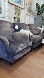 Grey velvety large 2 seat sofa and armchair