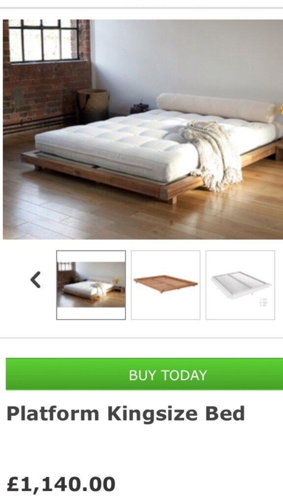 Futon Company King Size Oak Platform Bed With Matress Brand New