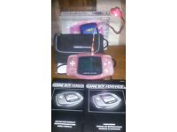 nintendo game boy advance 32bit wide screen with lots of accessories