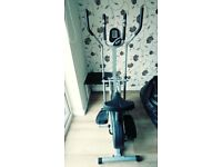 2-in1 Elliptical Cross Trainer Exercise Bike-Fitness With Seat + Pulse Heart Rate Sensors