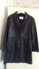 Ladies Black Leather Coat - Size 14