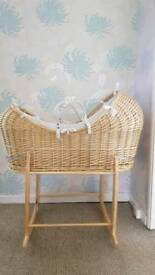Moses basket .Clair De Lune Noah Pod Wicker Basket and Deluxe Rocking Stand