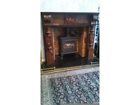 Brown wooden fire surround