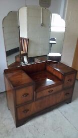 Walnut veneered dressing table and mirror £55 FREE LOCAL DELIVERY 5 miles STALYBRIDGE SK15 2PT